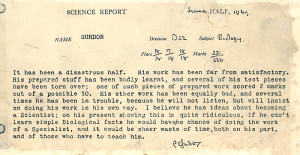 Nobel Laureate Gurdon's science teacher tells it as he sees it...considered and utterly subjective.